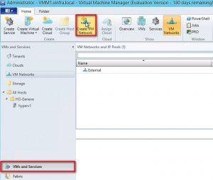 Figure 20: Create VM Network dans VMs and Services