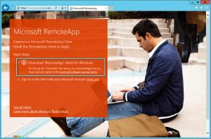 Figure 2: Téléchargez le client RemoteApp