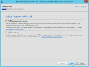Figure 9: Installer VMM management Server et VMM Console