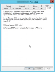 Figure 5: Configure DHCP options from WDS