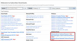 MSDN Subscriber Download